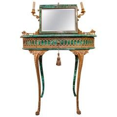 Late 19th Century French Louis XV Gilt Bronze Malachite Desk/Dressing Table