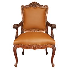Late 19th Century French Louis XV St. Walnut and Leather Armchair