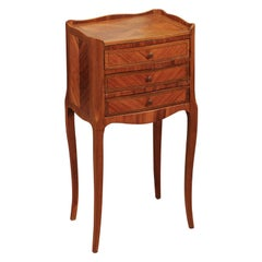 Late 19th Century French Louis XV Style Chevet in Walnut & Kingswood