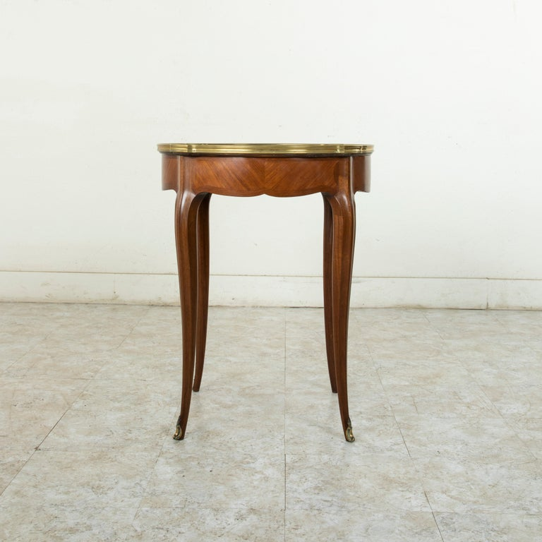 Bronze Late 19th Century French Louis XV Style Walnut Gueridon Side Table with Marble For Sale