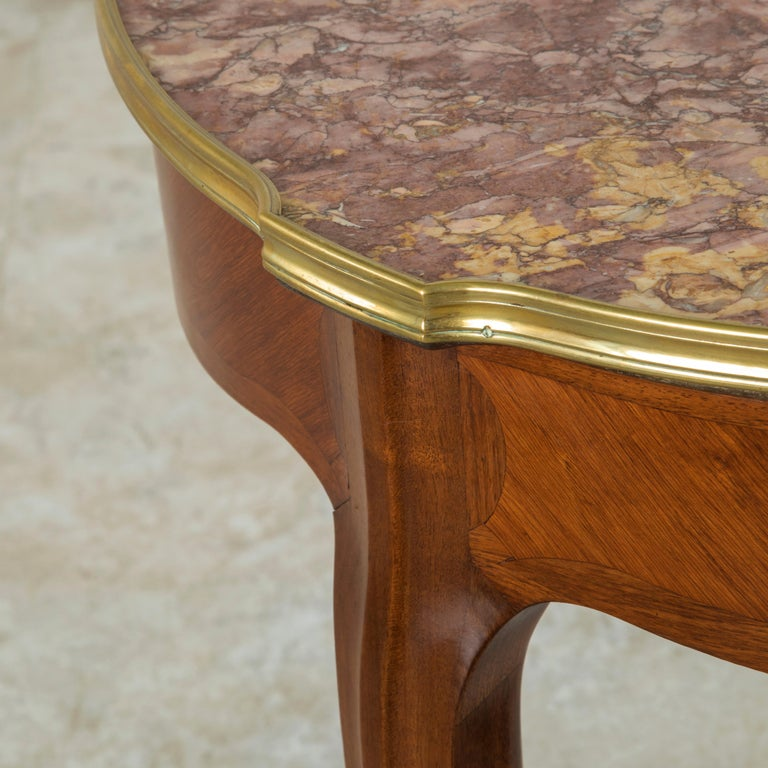 Late 19th Century French Louis XV Style Walnut Gueridon Side Table with Marble For Sale 2