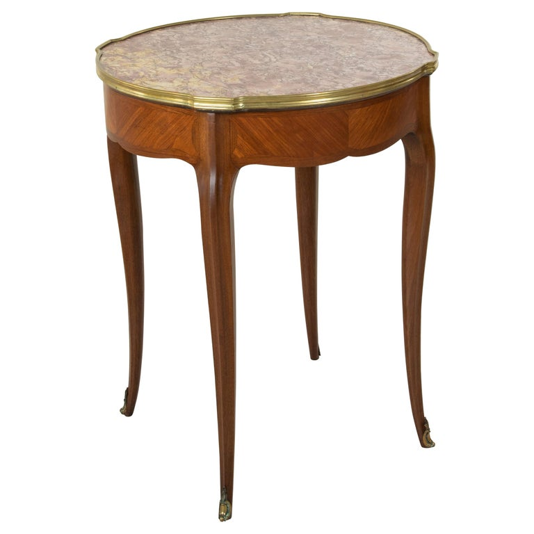 Late 19th Century French Louis XV Style Walnut Gueridon Side Table with Marble For Sale