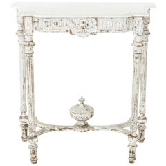 Late 19th Century French Louis XVI Hand Carved Painted Console Table, Marble Top