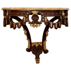 Late 19th Century French Louis XVI Style Oak and Giltwood 'D' Shaped Console