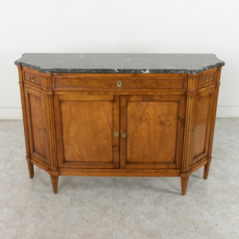 Late 19th Century French Louis XVI Style Ash Buffet or Sideboard, Marble Top In Good Condition For Sale In Fayetteville, AR