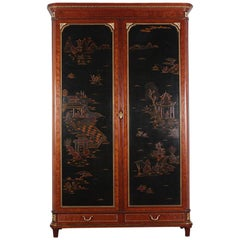 Late 19th Century French Louis XVI Style Chinoiserie or 'Japanned' Armoire
