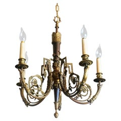 Late 19th Century French Louis XVI Style Gilt Bronze Five-Light Chandelier