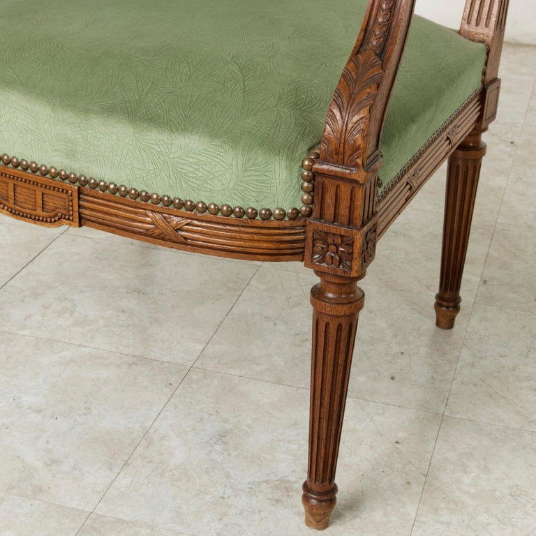 Late 19th Century French Louis XVI Style Hand Carved Walnut Armchairs, Bergeres For Sale 6