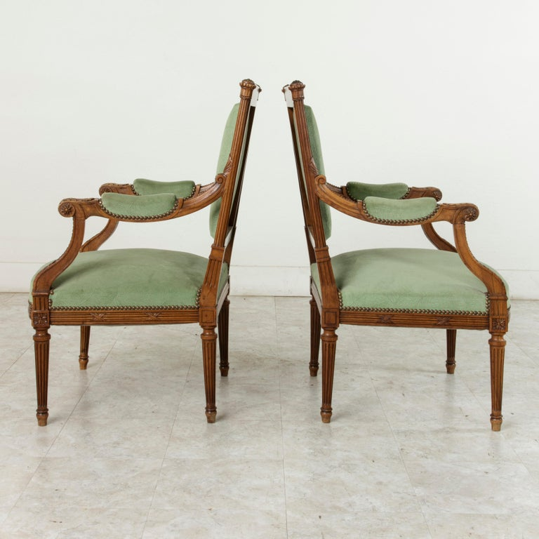 Hand-Carved Late 19th Century French Louis XVI Style Hand Carved Walnut Armchairs, Bergeres For Sale