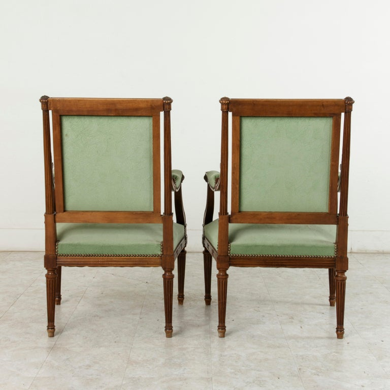 Late 19th Century French Louis XVI Style Hand Carved Walnut Armchairs, Bergeres In Good Condition For Sale In Fayetteville, AR