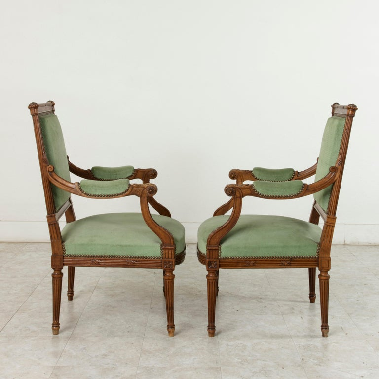 Late 19th Century French Louis XVI Style Hand Carved Walnut Armchairs, Bergeres For Sale 1