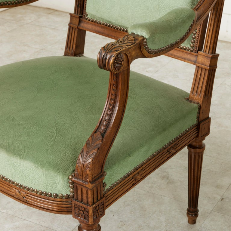Late 19th Century French Louis XVI Style Hand Carved Walnut Armchairs, Bergeres For Sale 4