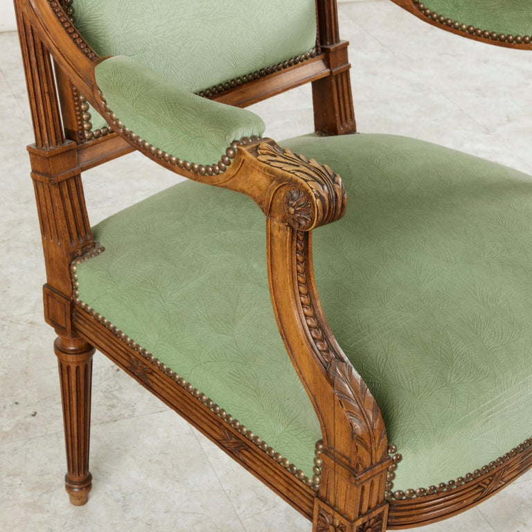 Late 19th Century French Louis XVI Style Hand Carved Walnut Armchairs, Bergeres For Sale 5