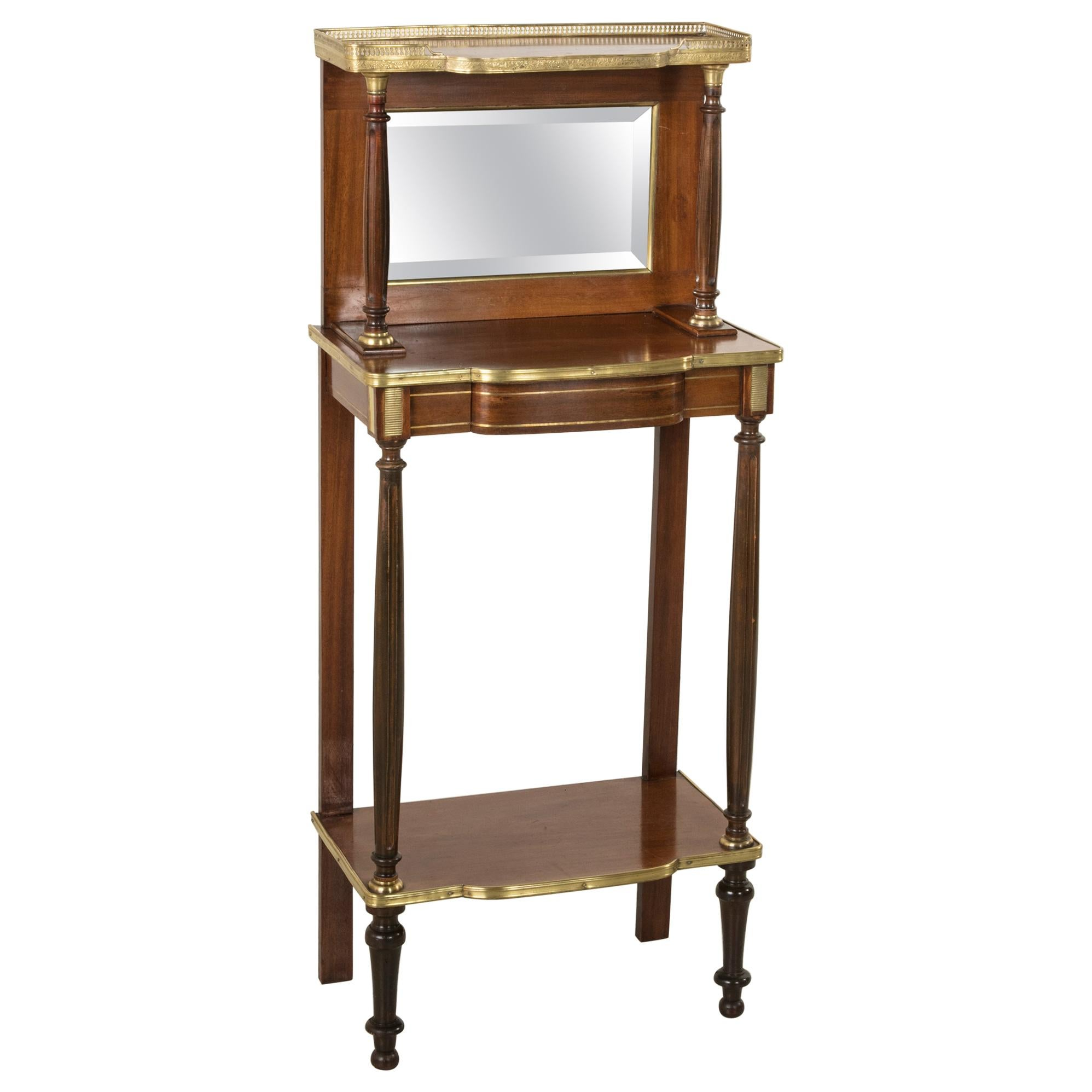 Late 19th Century French Louis XVI Style Mahogany Console Table, Bronze, Mirror