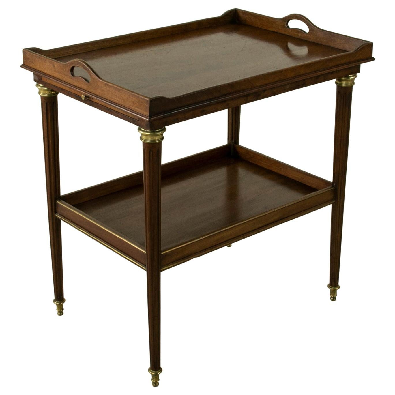 Late 19th Century French Louis XVI Style Mahogany Tray Table with Bronze Details