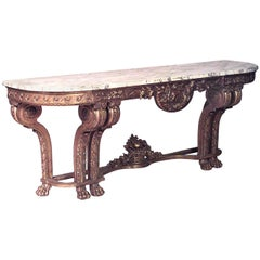French Louis XVI Style Giltwood and Marble Top Console Table