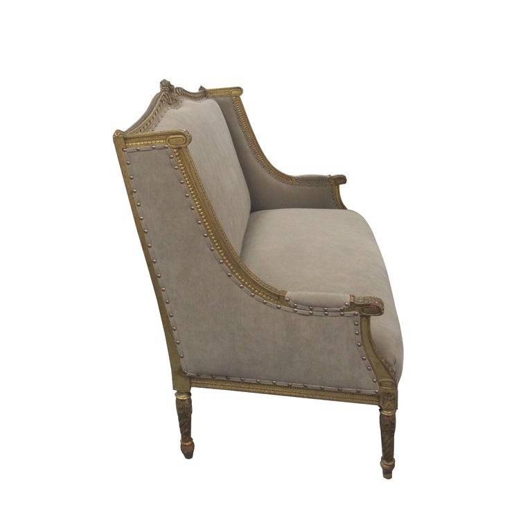 Other Late 19th Century French Louis XVI Style Marquise Two-Seat Carved Sofa For Sale