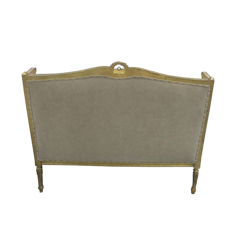 Fabric Late 19th Century French Louis XVI Style Marquise Two-Seat Carved Sofa For Sale