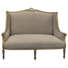 Late 19th Century French Louis XVI Style Marquise Two-Seat Carved Sofa