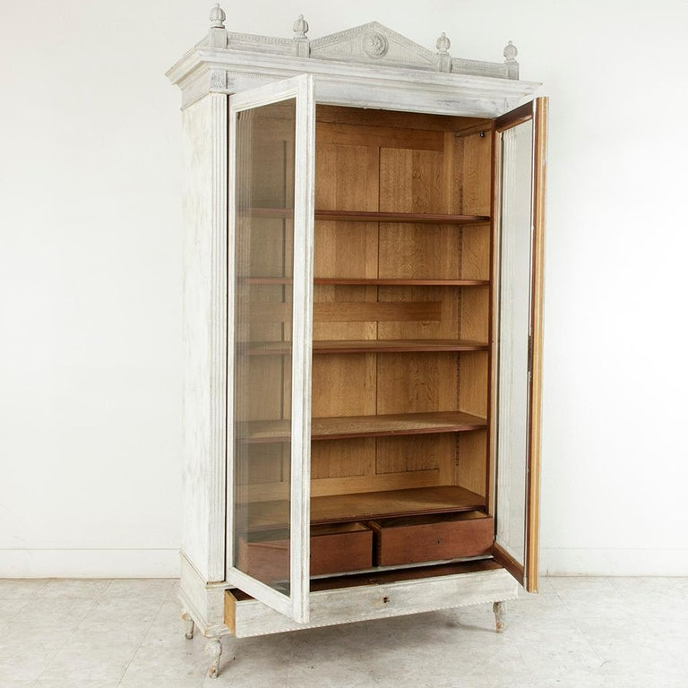 Louis Philippe Open Bookcase: Late 19th Century French Louis XVI Style Painted