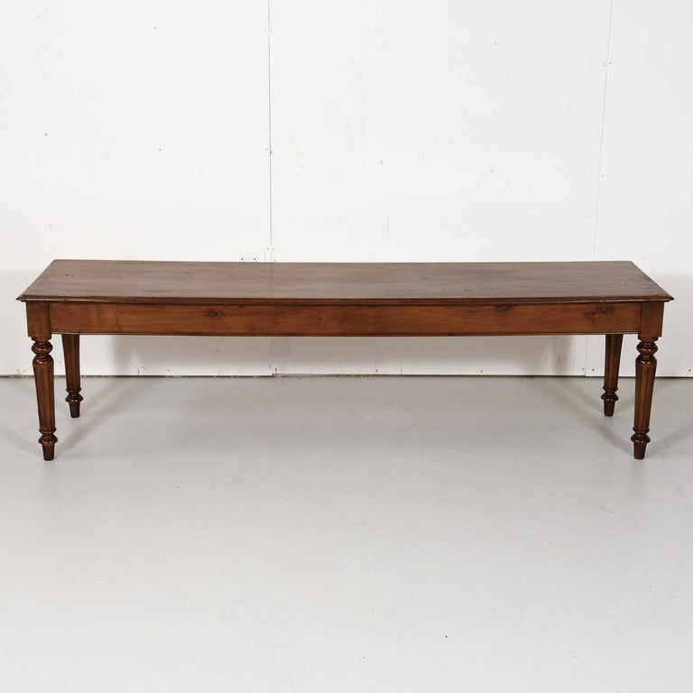 Late 19th Century French Louis XVI Style Pine Hallway Bench For Sale 9
