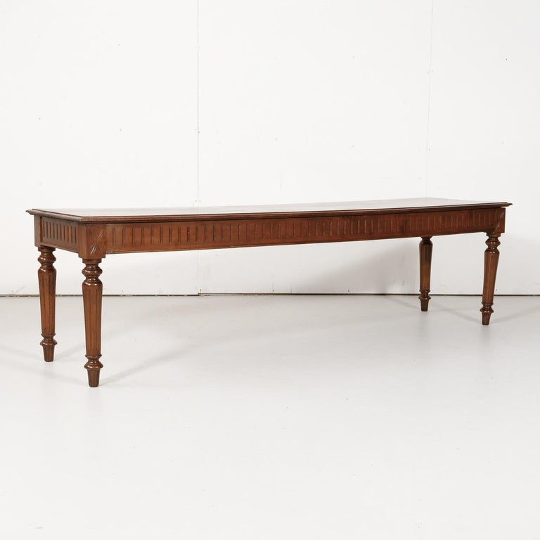 Late 19th Century French Louis XVI Style Pine Hallway Bench For Sale 2
