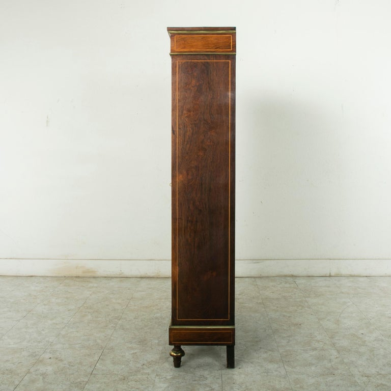 Late 19th Century French Louis XVI Style Rosewood Marquetry Bookcase or Vitrine In Good Condition For Sale In Fayetteville, AR