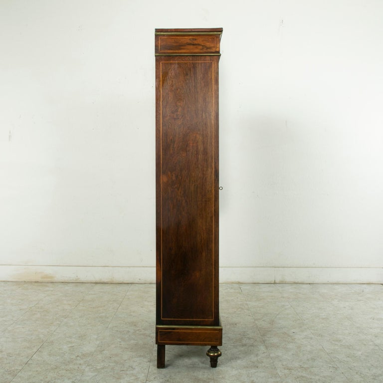 Late 19th Century French Louis XVI Style Rosewood Marquetry Bookcase or Vitrine For Sale 1