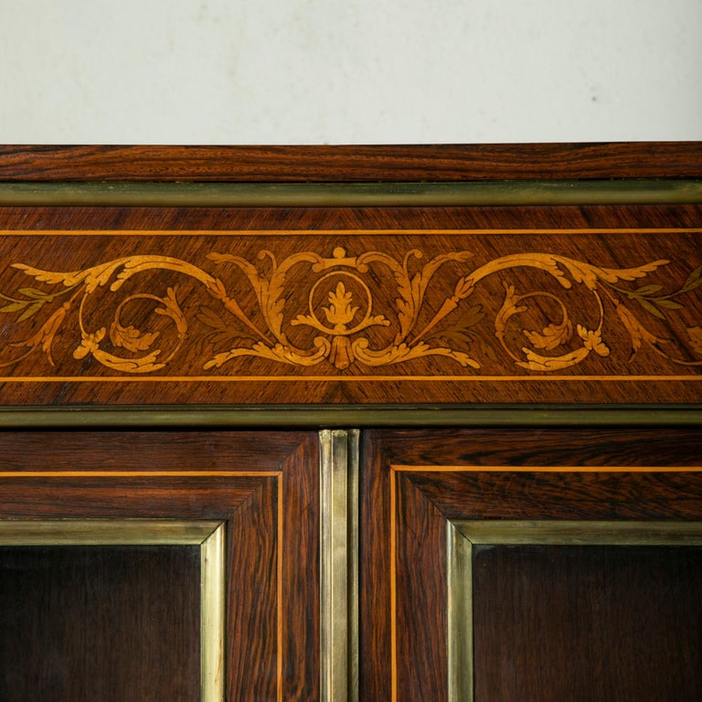 Late 19th Century French Louis XVI Style Rosewood Marquetry Bookcase or Vitrine For Sale 3