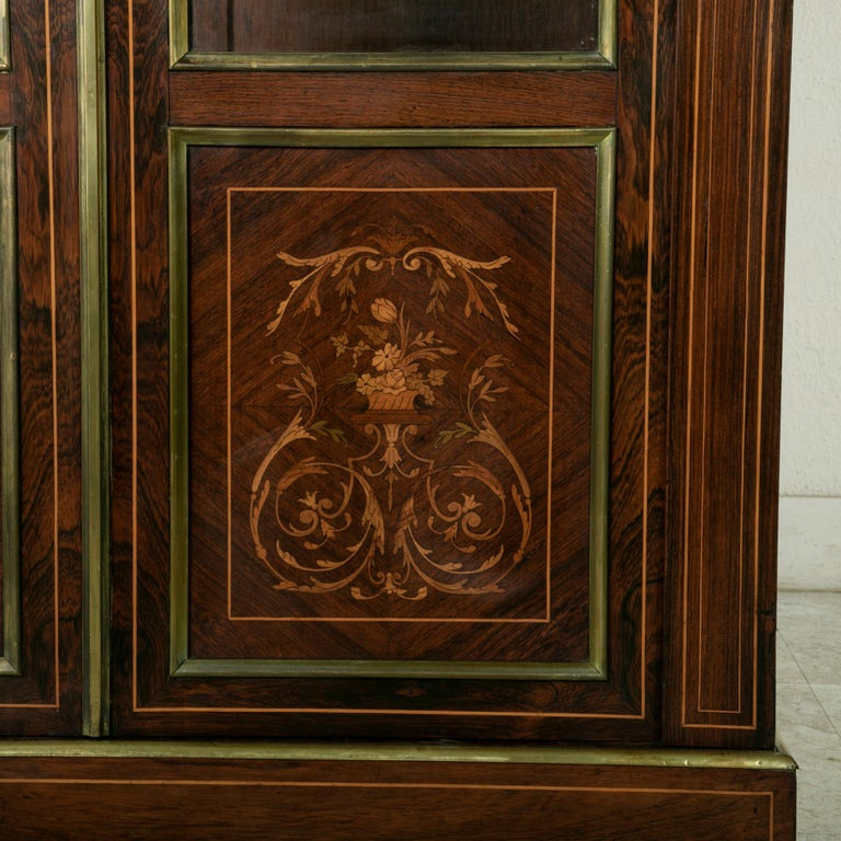 Late 19th Century French Louis XVI Style Rosewood Marquetry Bookcase or Vitrine For Sale 5