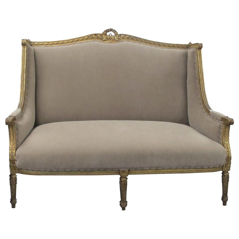Late 19th Century French Marquise Louis XVI Style Two-Seat Sofa Reupholstered
