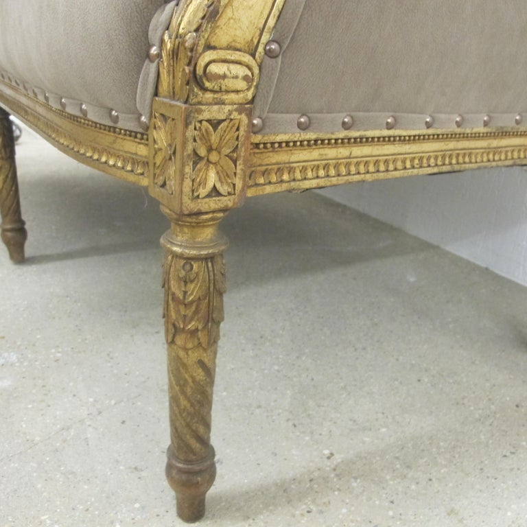 Late 19th Century French Marquise Louis XVI Style Two-Seat Sofa Reupholstered 5