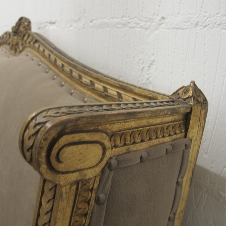 Late 19th Century French Marquise Louis XVI Style Two-Seat Sofa Reupholstered 8