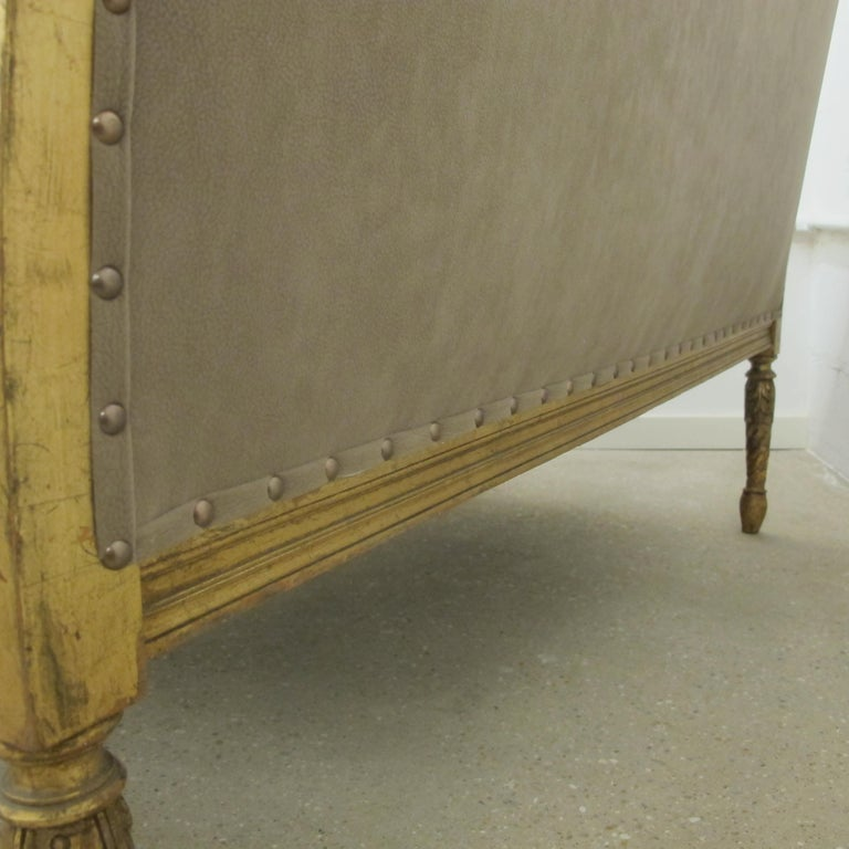 Late 19th Century French Marquise Louis XVI Style Two-Seat Sofa Reupholstered 9