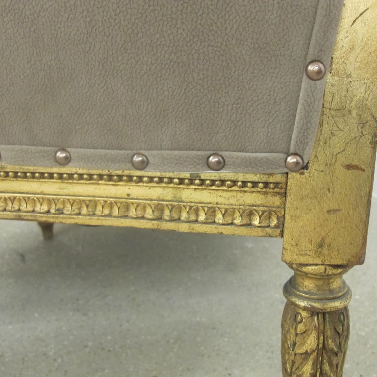 Late 19th Century French Marquise Louis XVI Style Two-Seat Sofa Reupholstered 10