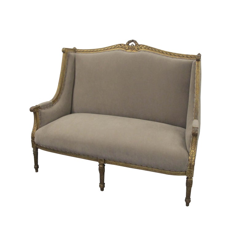 A generous high-backed two-seat French marquise, circa 1880 Louis the XVI style sofa. Newly upholstered with a suede like Impala fabric, in a light brown color, with antiqued studs, easy to clean and very resistant. The Marquise boasts very elegant