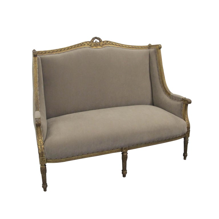 Hand-Carved Late 19th Century French Marquise Louis XVI Style Two-Seat Sofa Reupholstered