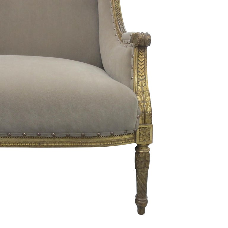 Fabric Late 19th Century French Marquise Louis XVI Style Two-Seat Sofa Reupholstered