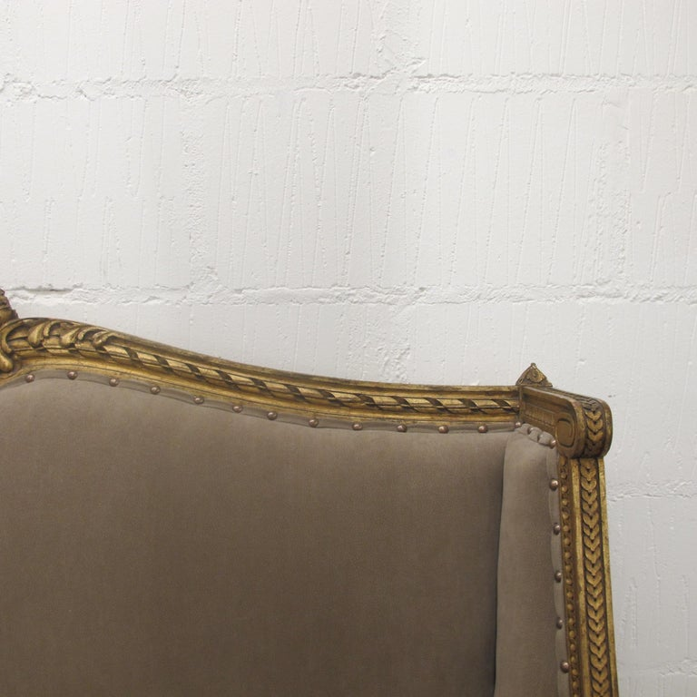 Late 19th Century French Marquise Louis XVI Style Two-Seat Sofa Reupholstered 1