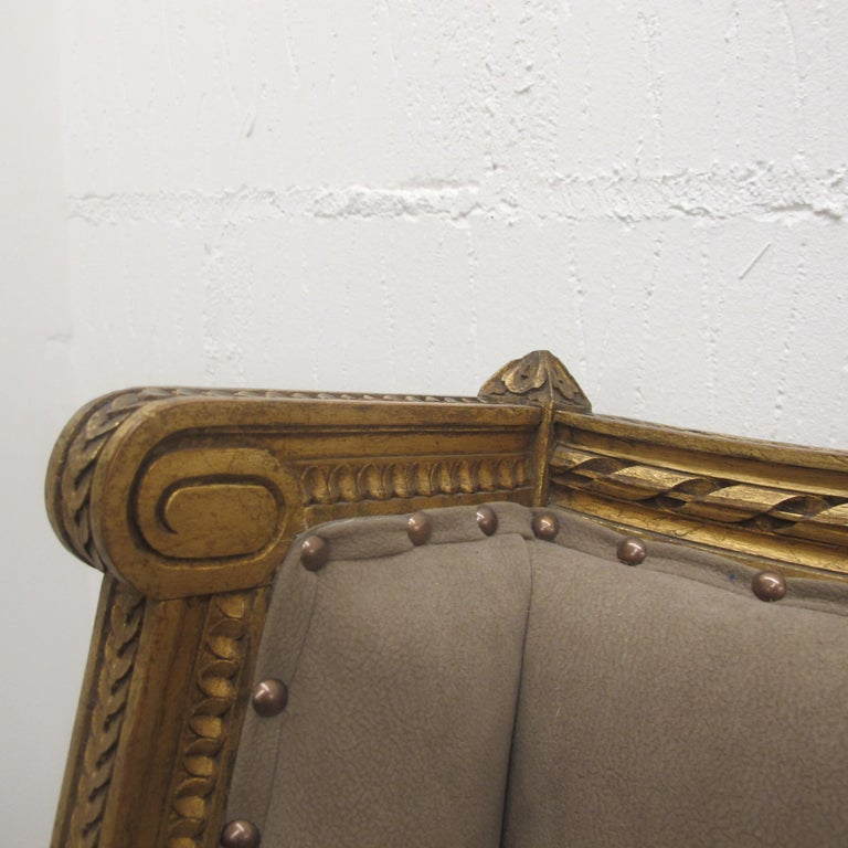 Late 19th Century French Marquise Louis XVI Style Two-Seat Sofa Reupholstered 3