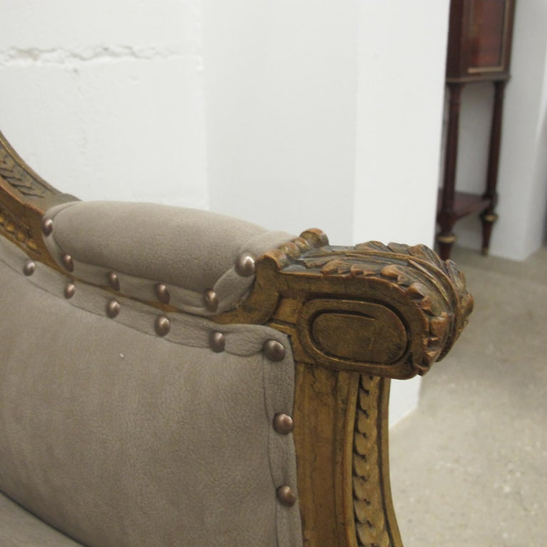 Late 19th Century French Marquise Louis XVI Style Two-Seat Sofa Reupholstered 4