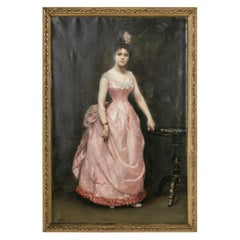 Late 19th Century French Napoleon III Period Portrait of a Lady Signed Armelin