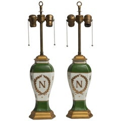 Late 19th Century French Napoleonic Lamps Style of Sèvres, a Pair