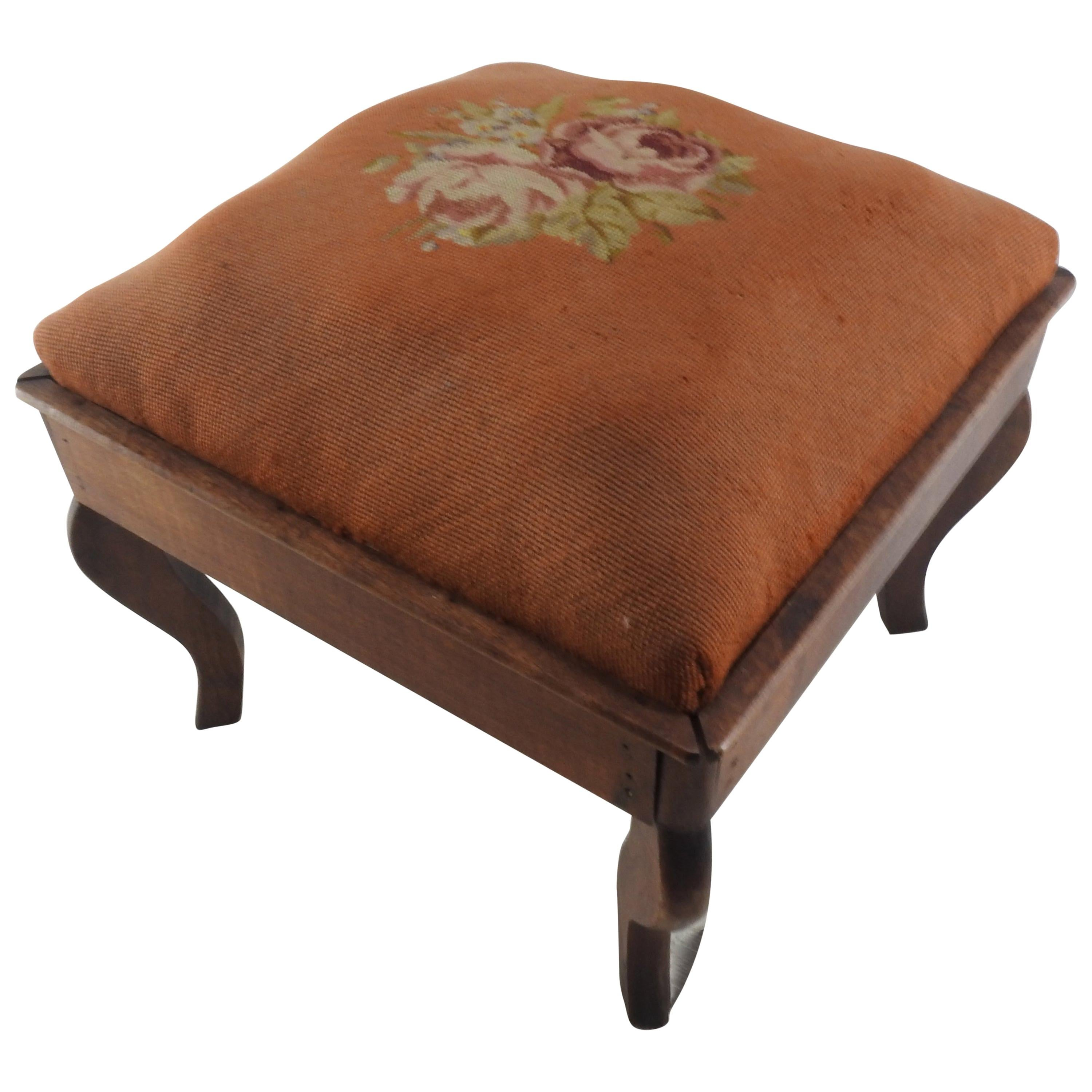 Late 19th Century French Needlepoint Foot Stool