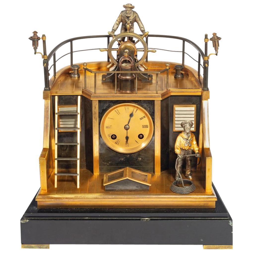 Late 19th Century French Novelty 'Quarterdeck' Mantel Clock by Guilmet, Paris