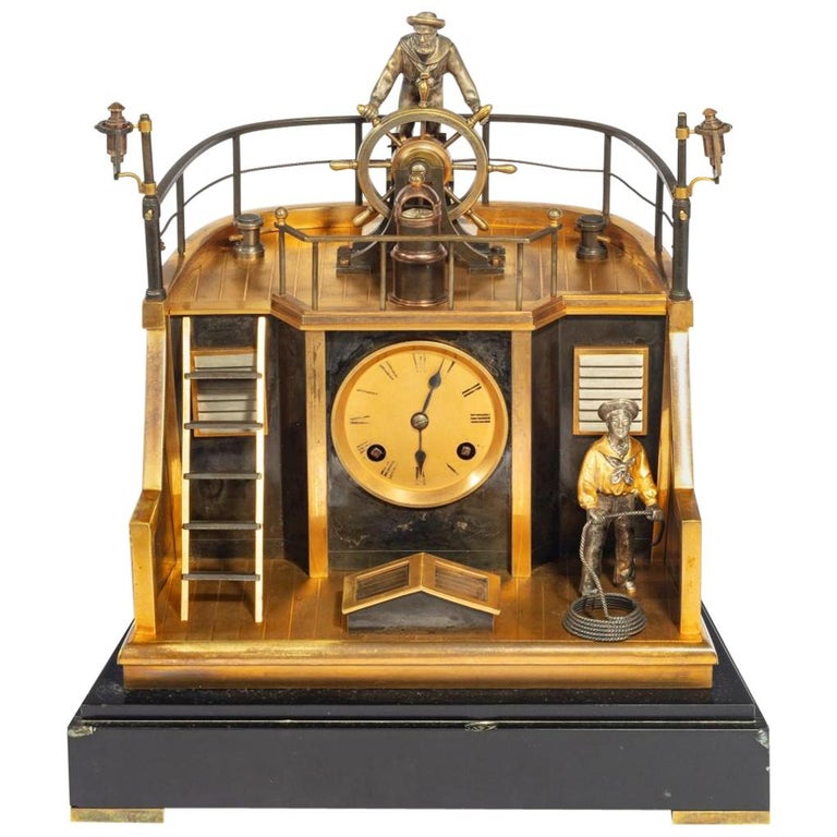 Late 19th Century French Novelty 'Quarterdeck' Mantel Clock by Guilmet, Paris For Sale