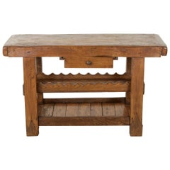 Late 19th Century French Oak Work Bench, Console Table, Sofa Table, or Dry Bar