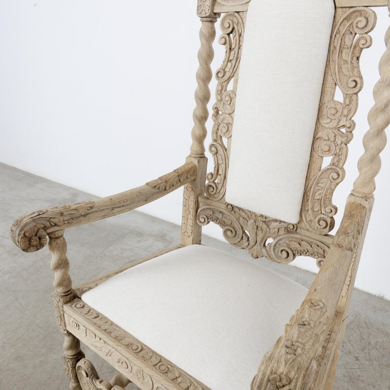 Late 19th Century French Ornate Oak Armchair For Sale 4