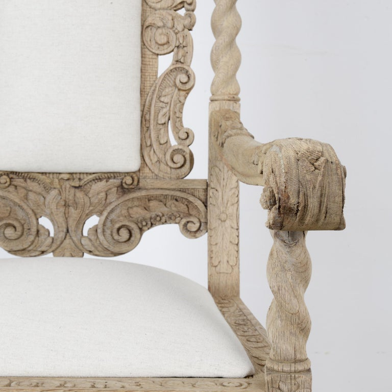 Late 19th Century French Ornate Oak Armchair For Sale 5