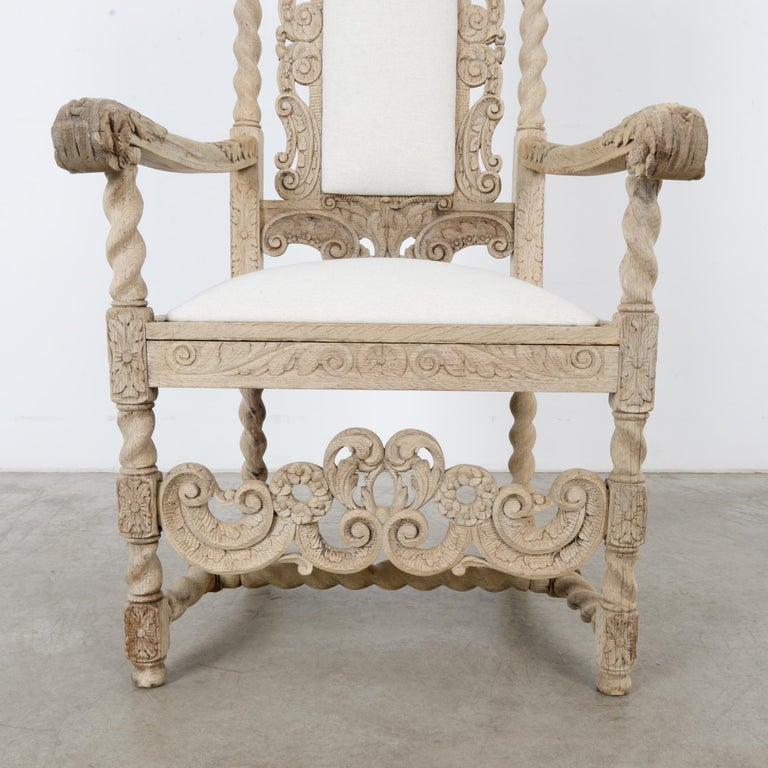 Late 19th Century French Ornate Oak Armchair For Sale 7